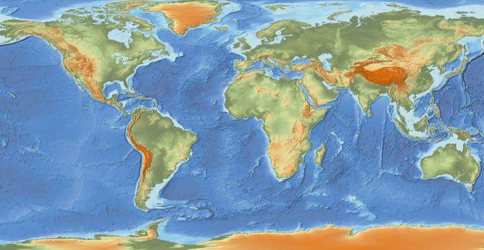 На картах материки и океаны
